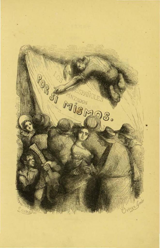 Grabado inicial de Los españoles pintados por sí mismos, (BNE)