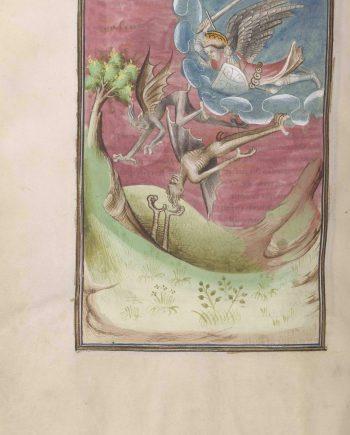 Folio 37 verso del manuscrito del Apocalipsis de Berry mostrando el arcángel San Miguel combatiendo a los demonios