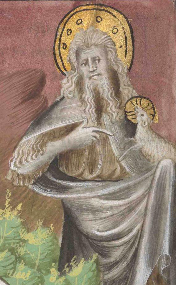 Detalle del folio 71 verso del manuscrito del Apocalipsis de Berry mostrando Juan el evangelista con el cordero