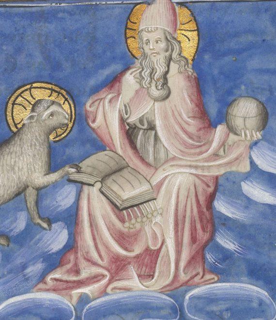 Detalle del folio 9 verso del manuscrito del Apocalipsis de Berry mostrando Jesucristo con el cordero abriendo el libro de los siete sellos