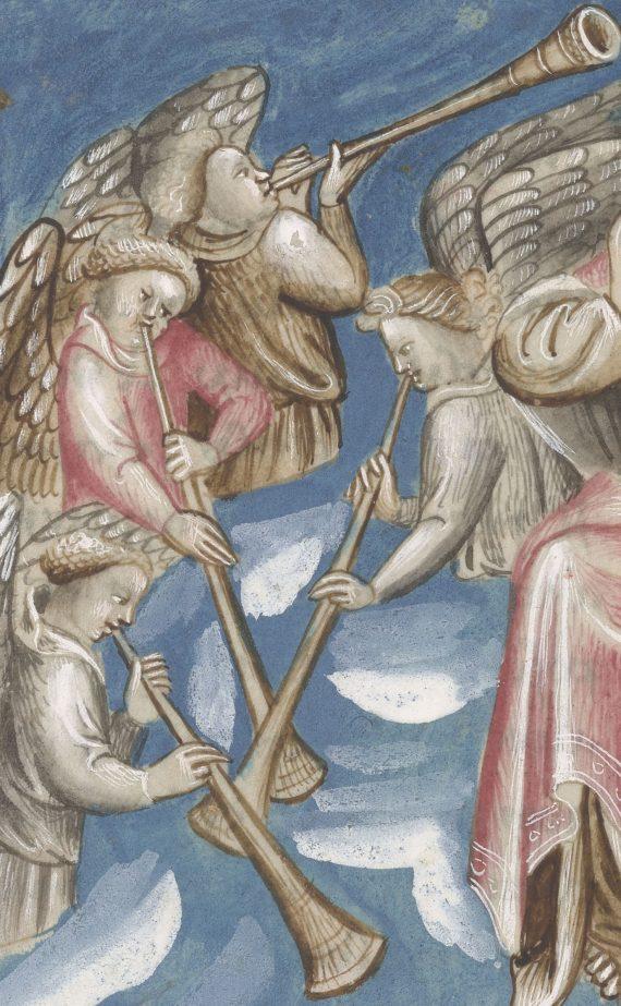 Detalle del folio 18 verso del manuscrito del Apocalipsis de Berry mostrando ángeles con trompetas