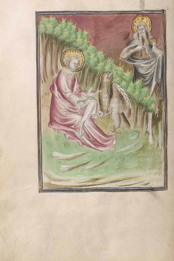 Folio 71 verso del manuscrito del Apocalipsis de Berry mostrando Juan el Bautista y el evangelista Juan